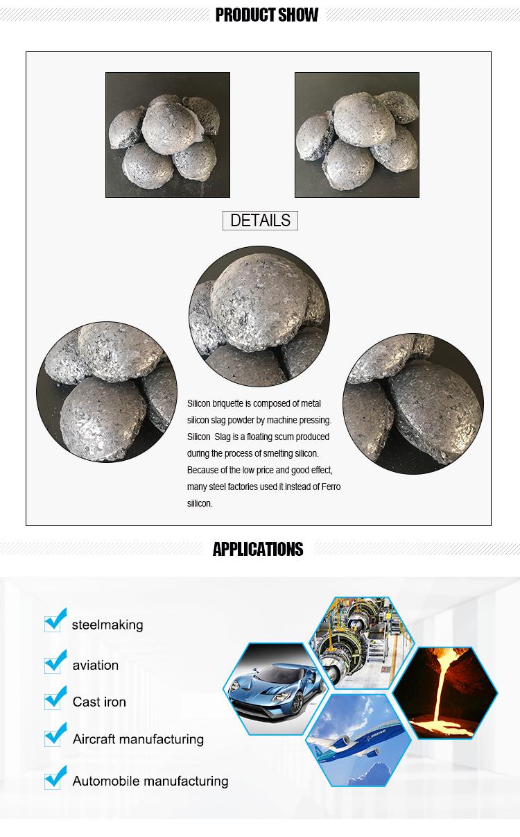 Used as Deoxidizer Si-Fe Briquette China Factory Ferrosilicon ball